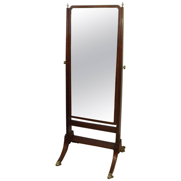 English Edwardian Mahogany Cheval Mirror