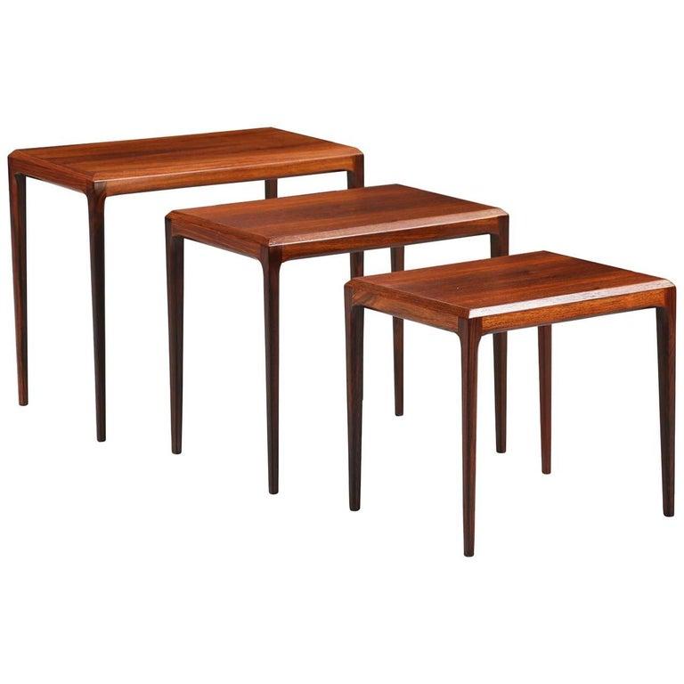 Johannes Andersen Rosewood Nesting Tables for CFC Silkeborg