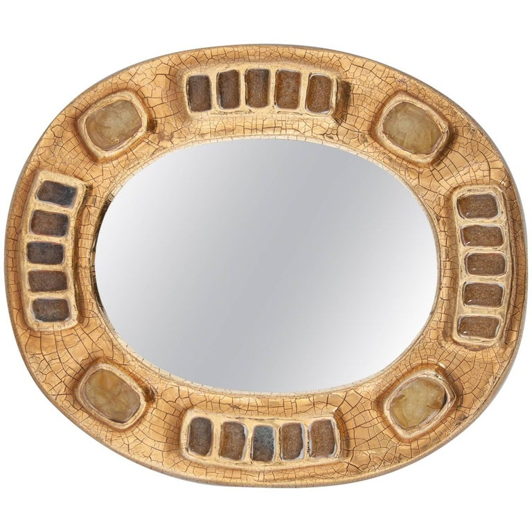 Midcentury Francois Lembo Ceramic Mirror Gold and Amber Fused Glass