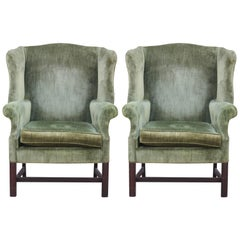Pair of Modern Green Velvet Mahogany Wingback Lounge Chairs