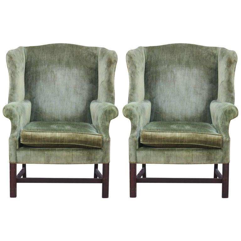 Pair of Modern Green Velvet Mahogany Wingback Lounge Chairs