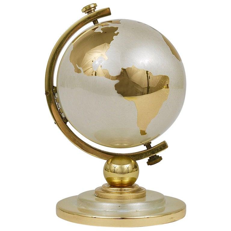 1950s Mid-Century World Globe Brass Table Alarm Clock by Europe, Germany, 1950s