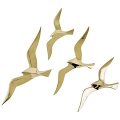 Four Wall-Mounted Midcentury Seagull Bird Brass Sculptures, Austria, 1950s