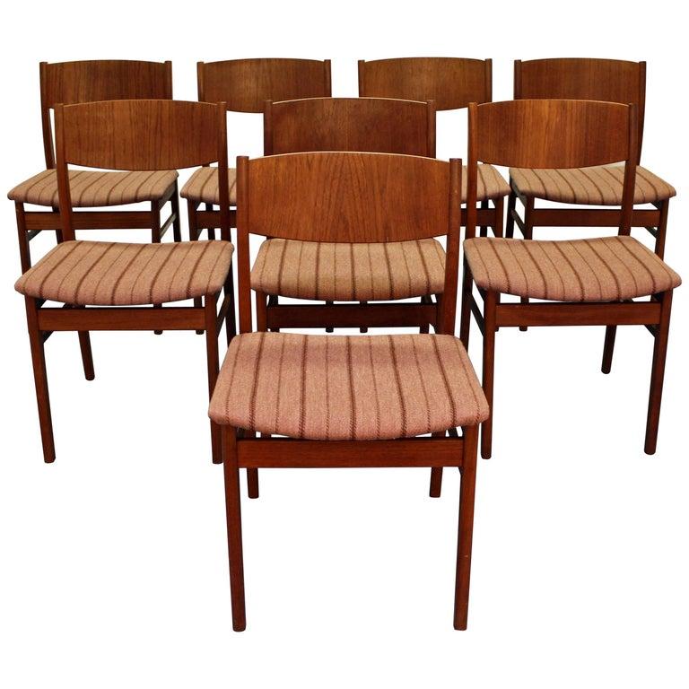Set of Eight Midcentury Danish Modern Teak Side Dining Chairs