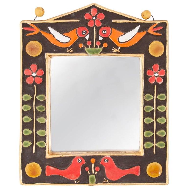 Midcentury Francois Lembo Rectangular Multi-Color Ceramic Mirror