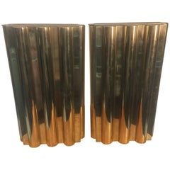 Pair of Lorin Marsh Modernist Brass Flower Vases