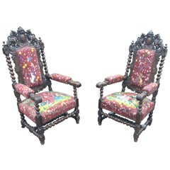 Pair of Louis XIII Style Oak Armchairs, circa 1900