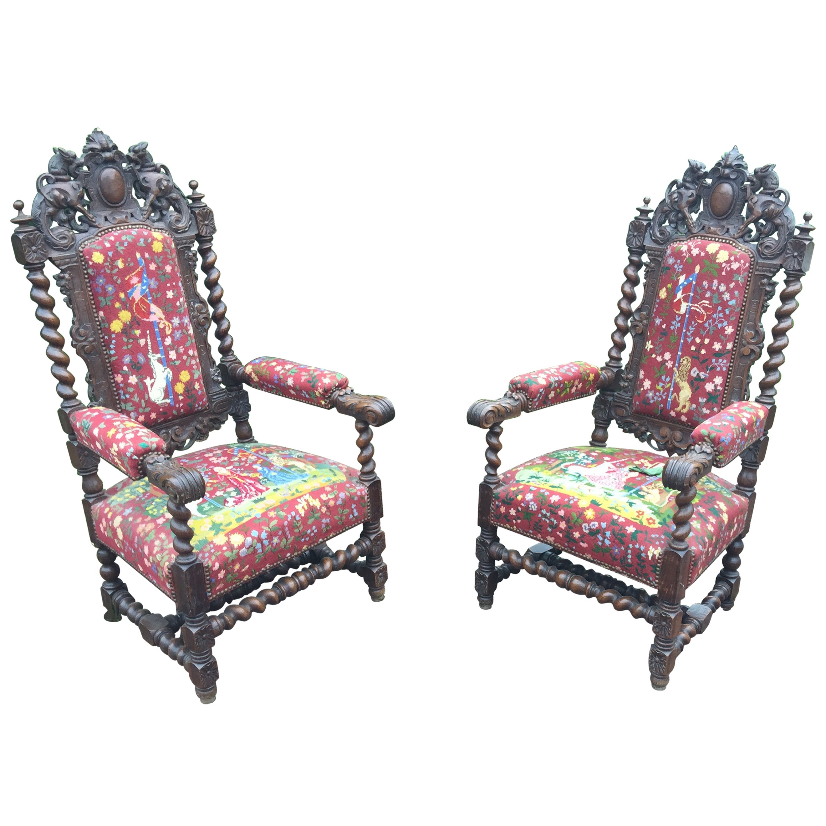 two Louis XIII Style Oak Armchairs, circa 1900
