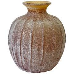 Large Seguso Vetri d'Arte Amber 'a Scavo' Murano Glass Vase or Vessel