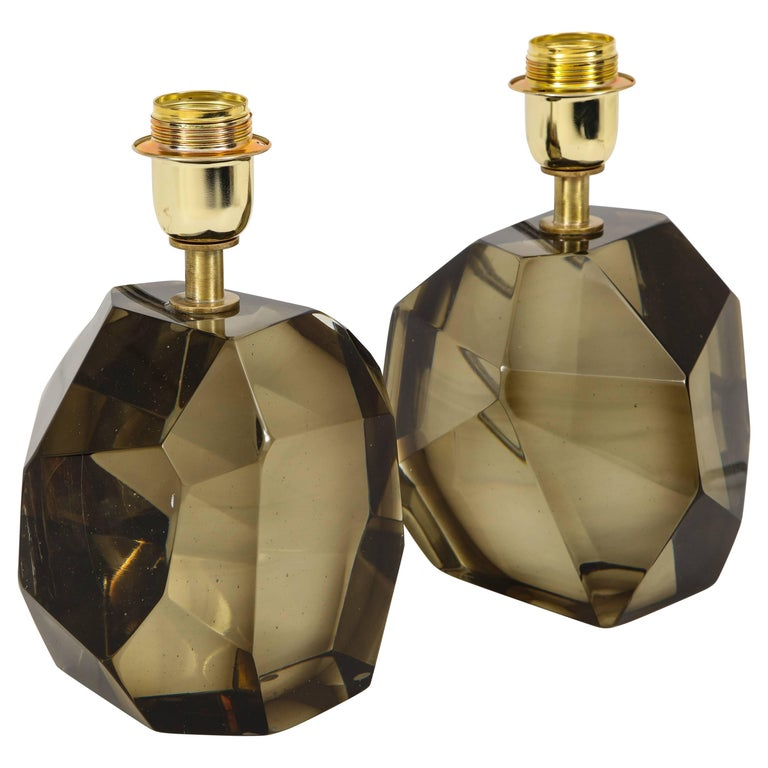 Pair of Solid Smoke Taupe Murano Glass Lamps For Sale