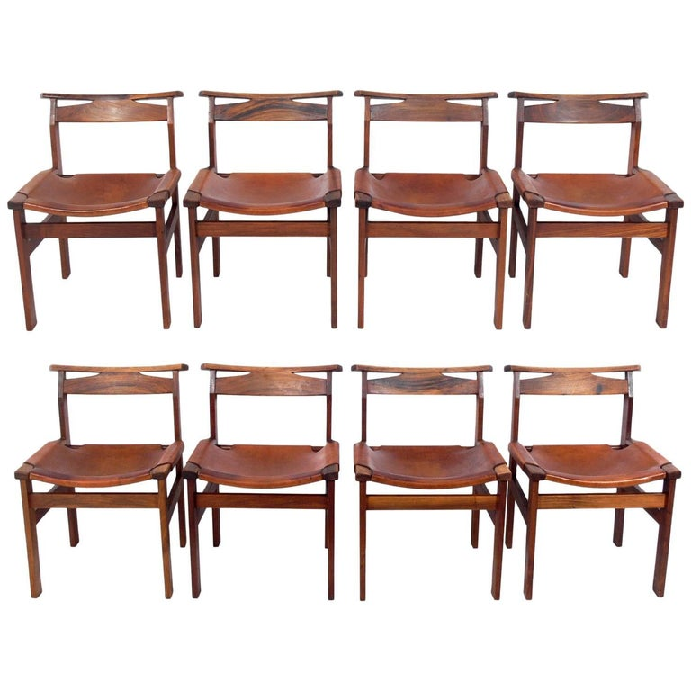 Set of Eight Clean Lined Leather Dining Chairs by John Tabraham