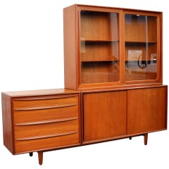 Svend Aage Madsen for Falster Teak Credenza and Hutch