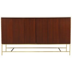 "Paul McCobb ""Irwin Collection"" Credenza with Bi-Folding Doors and Travertine Top"
