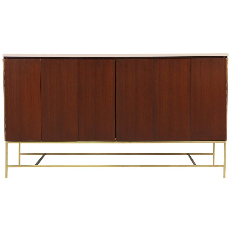 """Paul McCobb """"Irwin Collection"""" Credenza with Bi-Folding Doors and Travertine Top"""