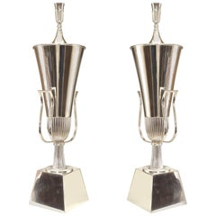Pair of American Art Moderne Silver Plate Urn Form Table Lamps