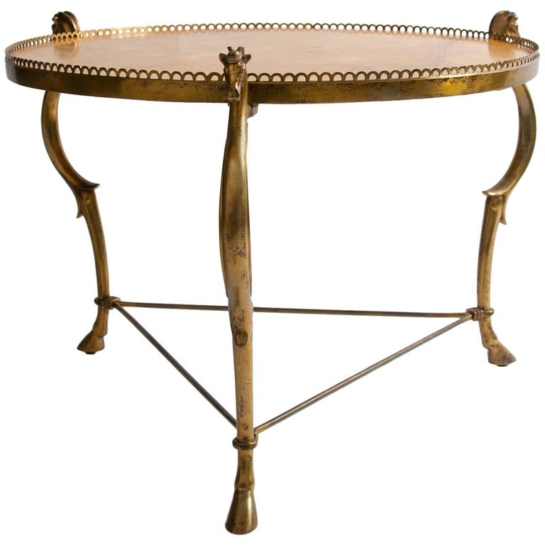 Midcentury Maison Baguès Bronze Circular Low Table with Sienna Marble Top