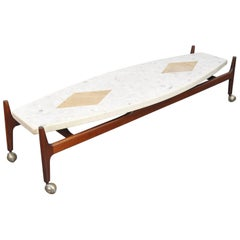 Harvey Probber Marble, Terrazzo, Travertine and Walnut Surfboard Coffee Table