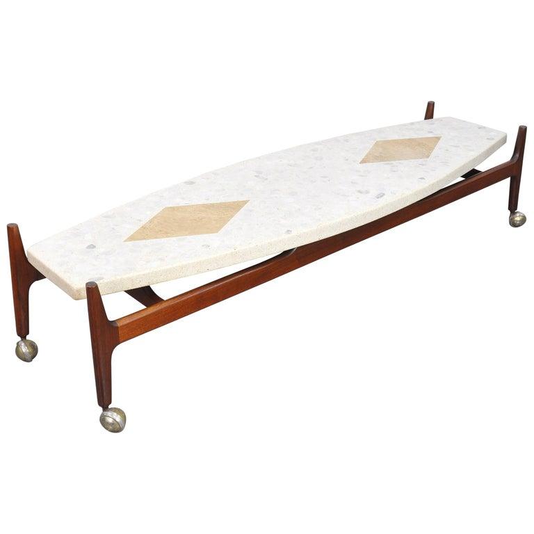 Harvey Probber Marble, Terrazzo, Travertine and Walnut Surfboard Coffee Table