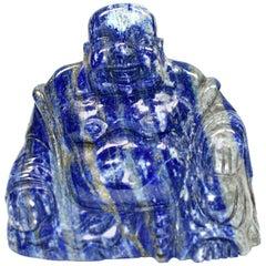 Natural Lapis Lazuli Buddha, Hand-Carved Happy Buddha
