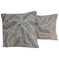 Pair of Vintage Batik Blue and White Square Decorative Pillows