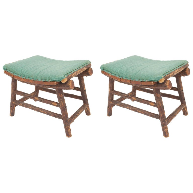 Pair of American Rustic Old Hickory Style Seat Benches