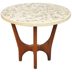 Harvey Probber Onyx, Marble, Terrazzo and Walnut Side Table