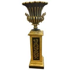 Signed Decorative Concepts Italy Carved Giltwood and Black Regency Pedestal Vase
