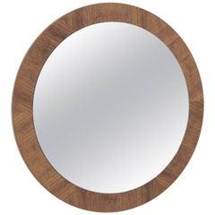 Midcentury Veneer Round Wall Mirror, Denmark, 1960s