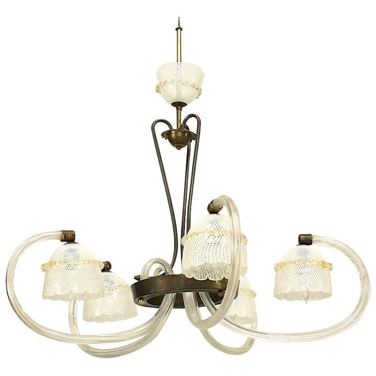 "Italian 1930s Murano ""Reticello"" Clear Glass and Brass Chandelier"