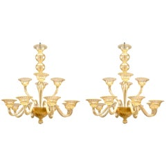 """Murano """"Sommerso"""" Gold Dusted Fluted Glass Two-Tiered Twelve-Arm Chandeliers"""