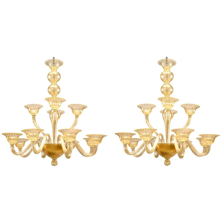 "Murano ""Sommerso"" Gold Dusted Fluted Glass Two-Tiered Twelve-Arm Chandeliers"