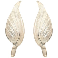 Italian Murano Silver Dusted Glass Wall Sconces