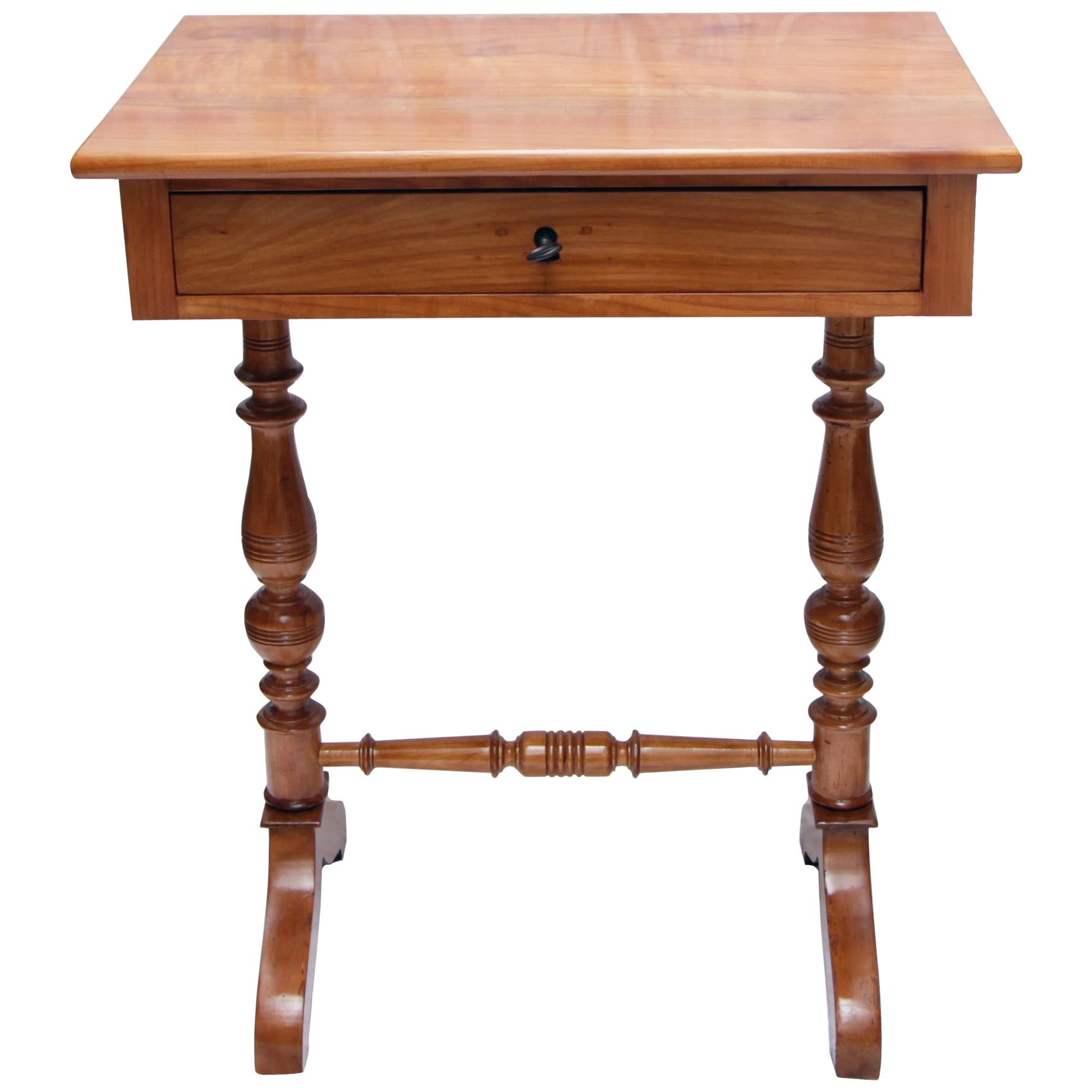 Late Biedermeier / Historicism Sewing / Side Table Made of Solid Cherrywood
