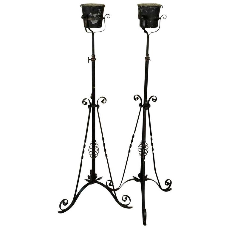 Pair of French 19th Century Iron Torcheres, Floor Standing Candelabras