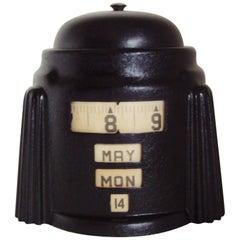 American Art Deco Black Kal-Klock Mechanical Combination Alarm Clock/Calendar