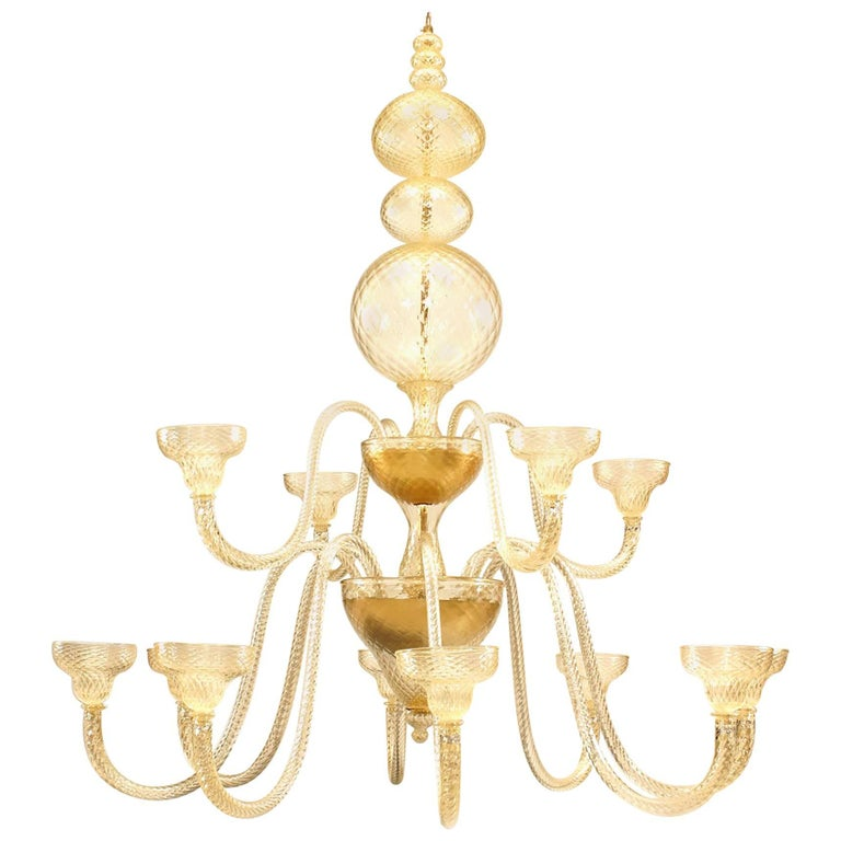 """Murano Gold Dusted Quilted """"Ballotton"""" Design Glass Two-Tiered Chandelier"""
