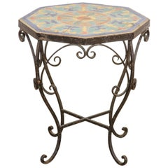 Octagonal Iron Tile-Top Drink Table by Catalina Tile