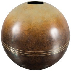 Spherical Bronze Vase by Ystad Metall, Sweden, 1930s