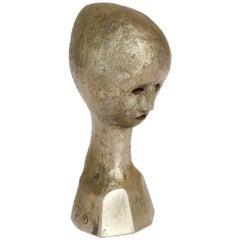 Modernist Cast Metal Bronze Finish Bust Sculpture