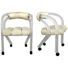 Frosted Lucite Rolling Chairs Style Charles Hollis Jones for Pace a Pair