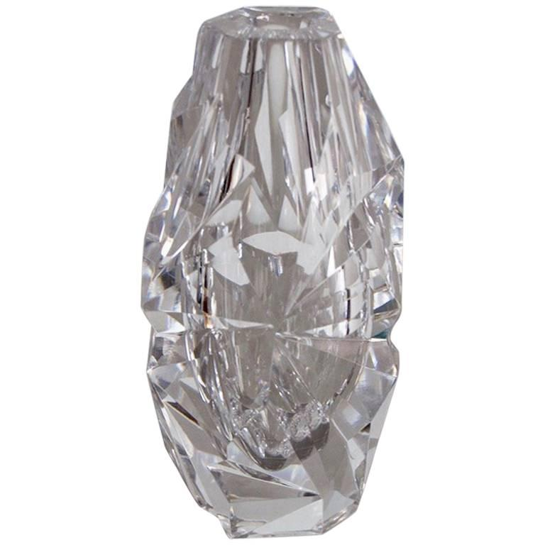 Clear Cut-Glass Vase by Vicke Lindstrand for Kosta