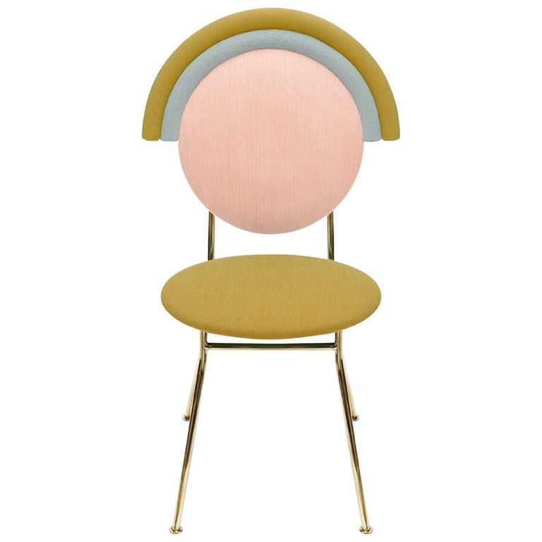Iris Chair in Yellow Pink and Pale Blue Kvadrat Fabric and Brass
