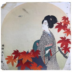 Japanese Antique Brilliant Colors Ten Woodblock Fan Prints Immediately Frameable