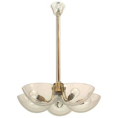 Italian Venetian Murano 1960s Brass and Clear Glass Chandelier