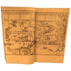 Japan Antique Garden Plans and Designs 154 Woodblock Prints in Three Albums Mint