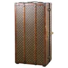Louis Vuitton Steamer Wardrobe Trunk Interior Fitted John Wanamaker Label