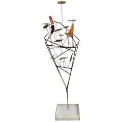 Brutalist Wire Sculpture on Lucite Base, circa 1970