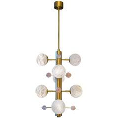 Brass Suspension with Alabaster Globes and Quartz by Glustin Luminaires Creation