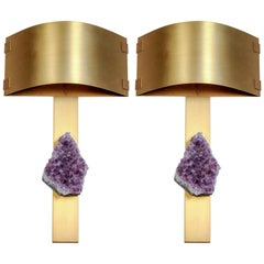 Pair of Brass Wall Sconces with Amethyst and Curved Shades