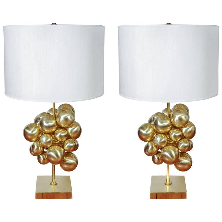 Pair of Brass Table Lamps with Multiple Spheres